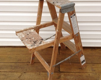 """Vintage 33"""" Step Ladder Three Step Small Wooden Folding Step Stool Plant Stand Rustic Ladder Farmhouse Decor Paint Splatered"""