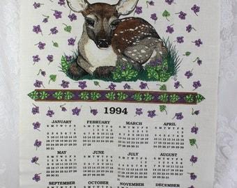 1994 Vintage Calendar Towel- Linen Kitchen Wall Hanging-  Baby Deer Fawn, purple violets flowers,  1994 Birthday Anniversary Gift
