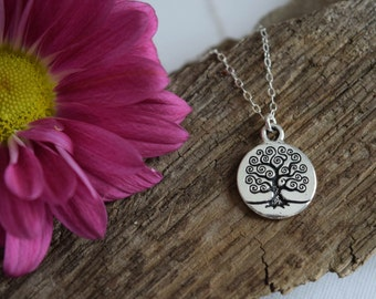 tree of life necklace, tree charm necklace, sterling silver chain, mothers day gift, gift for her, gift under 25, family tree necklace