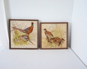 Pair of Large Vintage Framed Embroidered Needlepoint Quail and  Pheasant