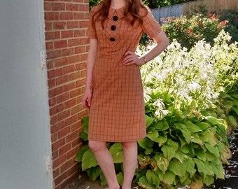 "1960s Short-Sleeve Orange Plaid ""Mad Men"" Dress"