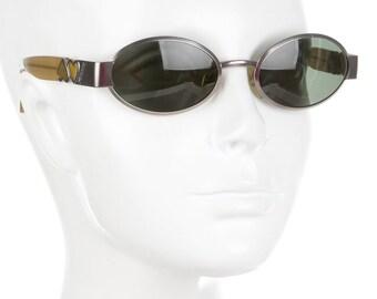 90s MOSCHINO Love Heart Silver Metallic Round / Oval Vintage Designer Sunglasses