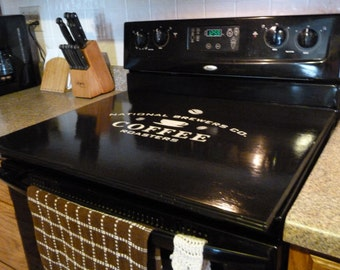 Black Stove Top Cover Wooden Tray, Stove Top Cover, Laundry Room, Washer Dryer Cover, Stove Cover Board Kitchen Space Saver
