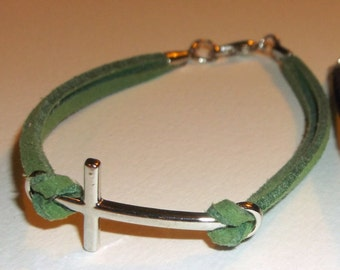 silver cross suede bracelet, pick your color