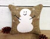 Little Snowman Balsam Pillow, Decorative Wool Pillow, Rustic Winter Pillow, 4 inch Square Balsam Pillow