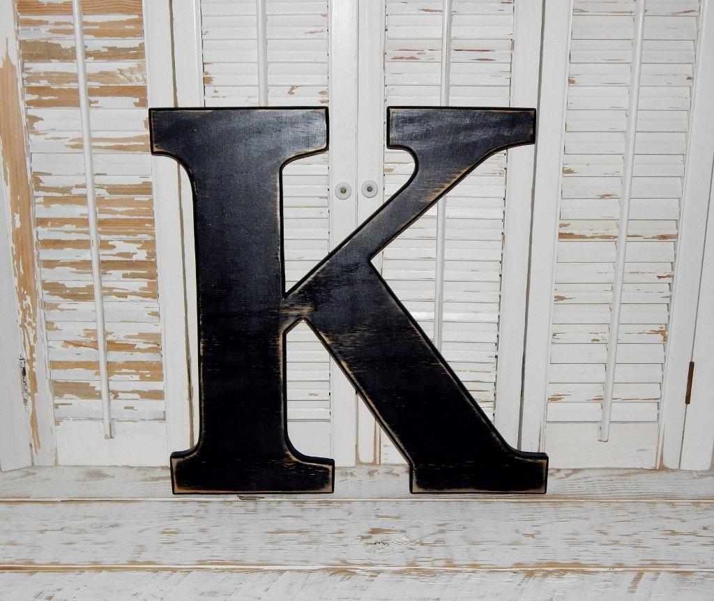 Large wood letter k or any letter distressed 18 inch wood for Large wooden letter k