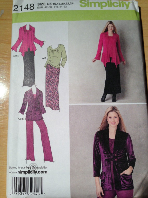 Simplicity 2148 Sewing Pattern Misses Pants, Skirt, Knit Top and Cardigan Uncut Size 16-24