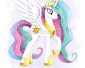 My Little Pony Art Princess Celestia Print Watercolor Painting MLP Girls Wall Decor Unicorn Pegasus Illustration - Sarah Alden