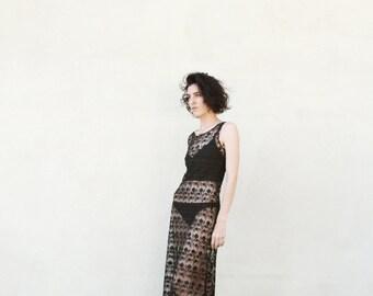 SHEER BLACK Lace Cover Up Dress Vintage