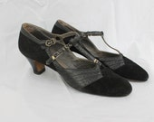 Amazing 1920s Art Deco Flapper T-Strap Heels Black Leather Size 8AAAA