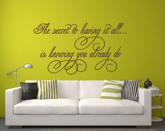 Family Wall Decal, Romantic Love Decal, The Secret To Having It All, Photo Wall Decal, Picture Wall Decal, Family Wall Decor - WD0077