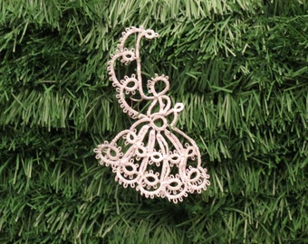 Tatted Christmas Ornament - Angel in Profile - Set of 6