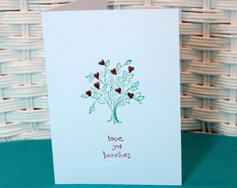 Set of 5 Hand Stamped love ya bunches Cards