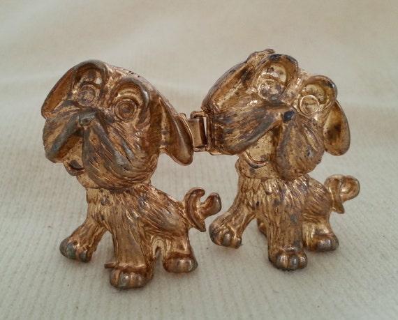 Doggie buckle - Gold tone Vintage clasp, mimi di n style