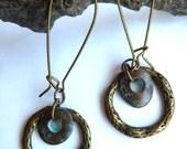 Antique Brass Ring and Green Patina Bead Earrings, Rustic Dangle Earrings, Earthy Metal Ring Earrings, Circle Hoop Boho Earrings