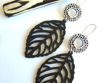Earrings, Large Black Wooden Leaf Earrings, Lightweight Modern Earrings, Gift for her, All Season Black Earrings, Black Leaf Dangle Earrings