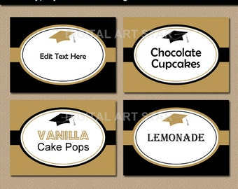 Graduation Buffet Cards, Food Labels, Tent Cards, Printable Graduation Candy Buffet Labels Instant Download, College Graduation Ideas G1