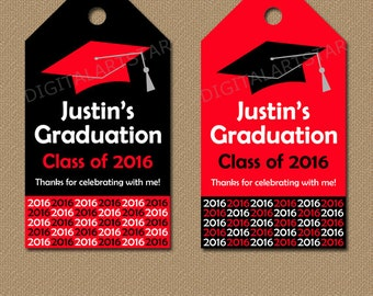 Personalized Graduation Hang Tags - Printable Graduation Party Decorations - Class of 2016 Tags - Red Black Graduation Party Favor Tags