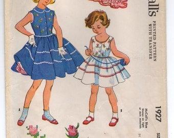 "1950's McCall's Girl's Sleeveless Dress and Crinoline Pattern - UC/FF - Breast 30"" - No. 1927"