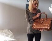 Tanned vintage leather satchel bag, Sequoia, Paris, France
