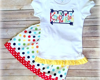 Back to School Outfit - Kindergarten Back to School Outfit - Shirt and Skirt Set - Can be made for any grade! Colorful Kindergarten Outfit