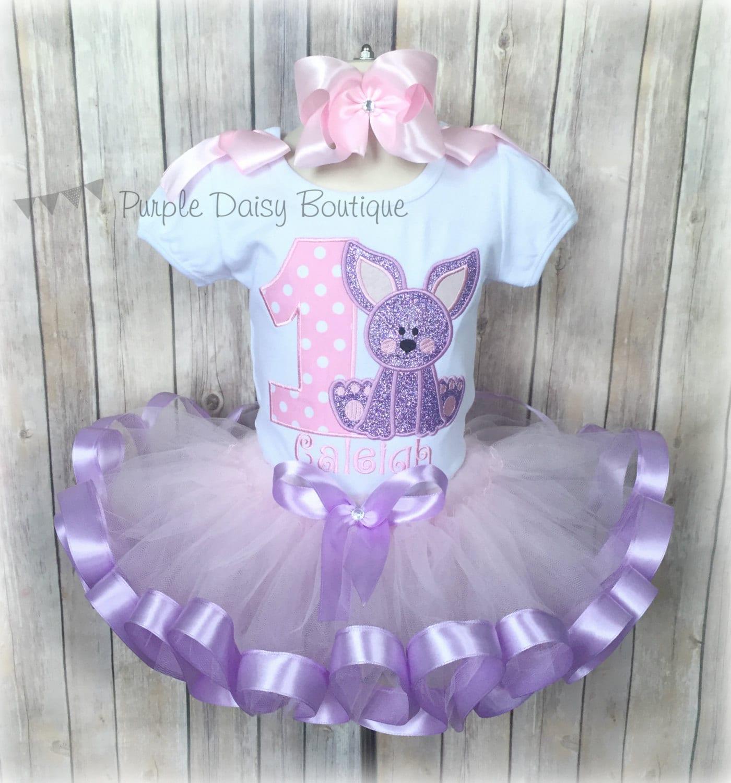 Bunny Theme First Birthday Ribbon Trim Tutu Outfit Bunny