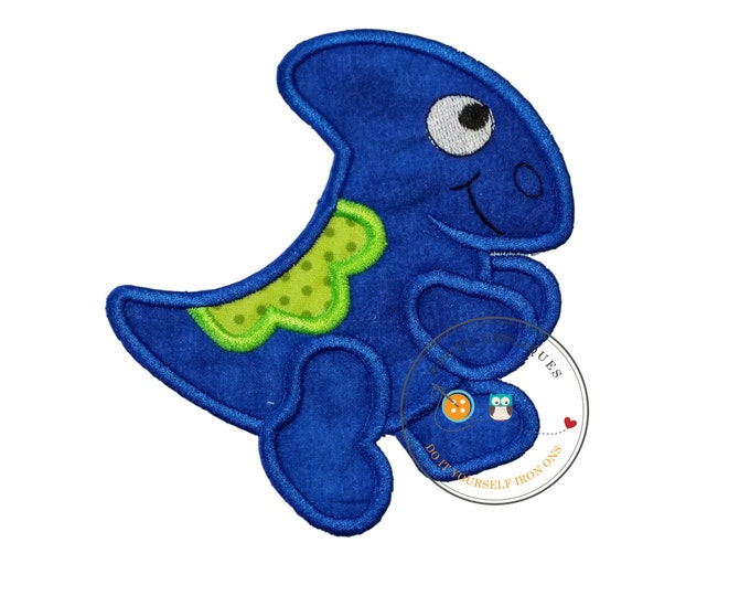 Cobalt blue iron on dinosaur applique, big iron on blue dino patch, bright dinosaur patch with embroidery details, for boy or girl