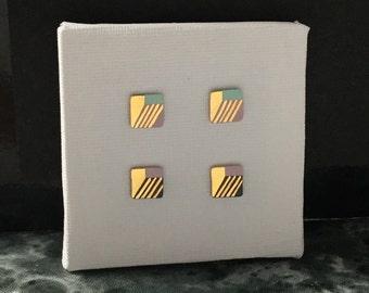 SALE / Porcelain square stud earrings-choose-pastel sky blue, pink, 24k gold- geometric post earrings, minimalist stud, gift for hers
