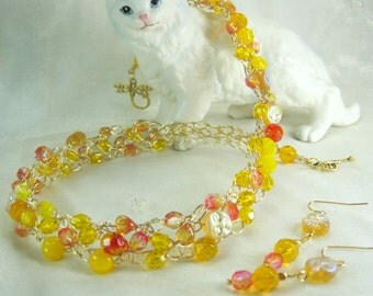 Yellow and Pink Bead Crocheted Necklace Set, wire crochet necklace, handmade beaded jewelry