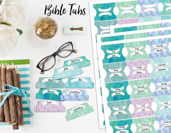 Bible Tabs for Bible Journalling / 66 Books of the Bible / & Blank Tabs/ Blue, Green, Purple, Watercolor and Glitter