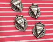 Pie Charms -4 pieces-(Antique Pewter Silver Finish)