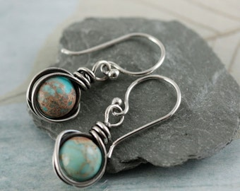 Sterling Silver Earrings With Crazy Lace Agate