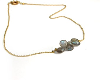 Labradorite Necklace. Horizontal Bar Necklace. Personalized Birthstone Options. Gold Fill or Sterling Silver. NS-1919-3