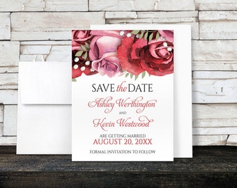 Save the Date Cards - Burgundy Red Pink Floral - Rose Save the Date Cards - Printed
