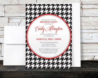 Houndstooth Birthday Party Invitations - Stylish Black and Red - Classic Black Houndstooth Pattern - Printed Invitations