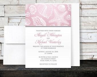 Pink Beach Wedding Invitations - Pink Seashell Pattern Gray - Seashell Wedding Invitations - Printed