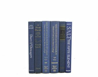 Blue Denim BOoks, DECORATIVE Books, Old Book Set, Vintage Book Decor, Book Collection, Instant Library Books shelf decor