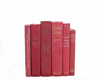 Red Raspberry Decorative Books, Wedding Decoration, Old Book decor, Vintage book set, Instant Library, Book Collection, Wedding Decoration