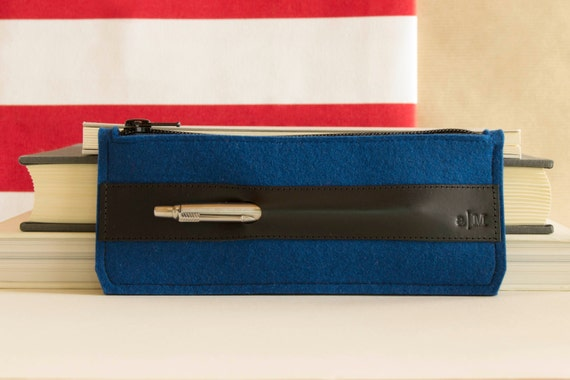 Felt and leather PENCIL CASE, sunglasses case, pen holder, blue and black, wool felt, handmade, made in Italy