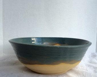Vintage Rustic Style  Bowl Blue Drip Glaze Vintage Pottery Mixing Serving Bowl