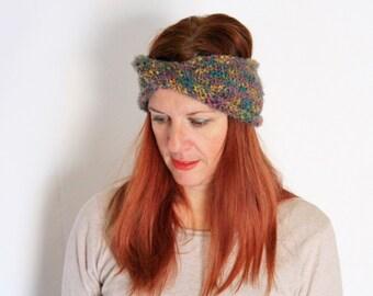 Grey headband, multicolor headband, grey turban, grey earwarmer, chunky earwarmer, chunky turban, Phyllis, ready to ship