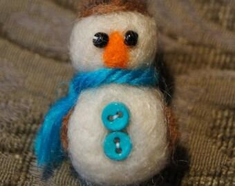Felted Snowman Christmas Ornament