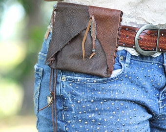 Coin Purse, Belt Pouch, Hand Stitched Leather Pouch Belt Bag, Feather and Arrowhead charms, Tribal, Brown Leather Bag