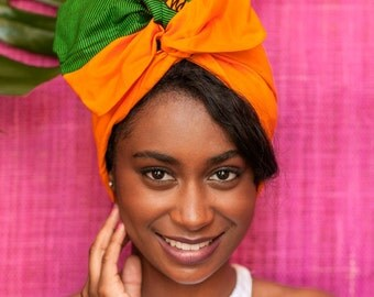 Pre sewn /wire hair scarf // african prints turban / head wrap / headwrap / SIKA