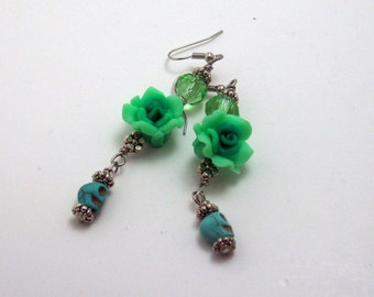 Sugar Skulls Day of the Dead Green Flower Earrings