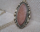 Art Deco, Large Oval Antique Gold Framed, Leather Floral Tooled Pendant with Antique Gold Medium Chain Link Jewelry