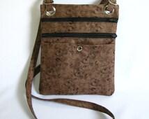 Hip bag- Brown tendril print cotton