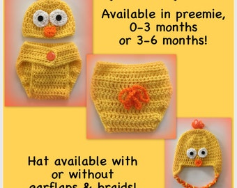 Baby duck outfit, duck hat and diaper cover, preemie, 0-3 months, 3-6 months, newborn, perfect for photo prop, ducky, duckie, yellow
