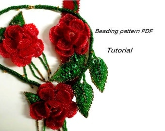 Beaded bracelet, brooch, necklace - Roses. Beading Tutorial. Beading pattern PDF. Instant download.