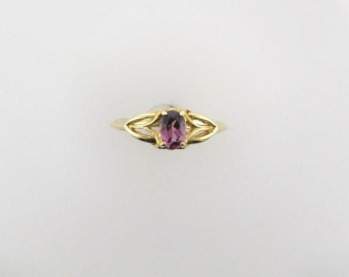 Yellow Gold Garnet Ring; Garnet Ring; January Birthstone Ring; Violet Garnet Ring; 14 Karat Yellow Gold Garnet Ring